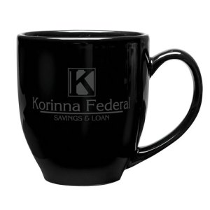 Black Ceramic Bistro Mug with Charcoal Gray Imprint